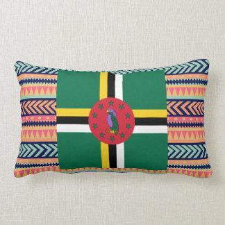 Colorful Dominica Flag Box Lumbar Pillow