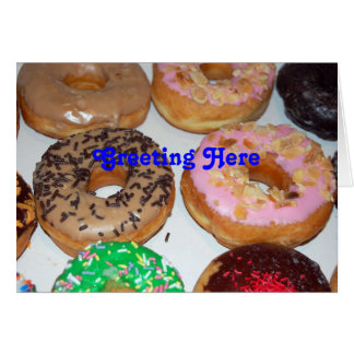 Colorful donuts greeting card