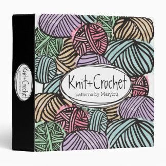 Colorful doodle balls of yarn knitting crochet vinyl binder