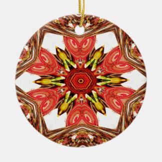 Colorful doodle flora  heart seamless star.jpg ceramic ornament
