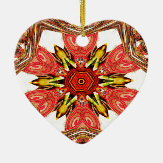 Colorful doodle flora  heart seamless star.jpg ceramic ornament