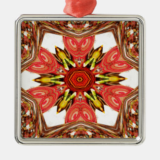 Colorful doodle flora  heart seamless star.jpg metal ornament
