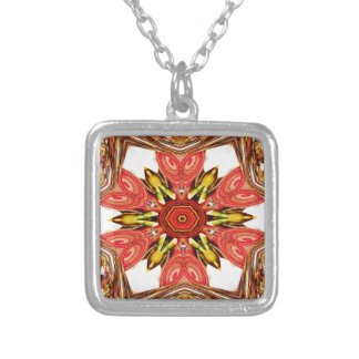 Colorful doodle flora  heart seamless star.jpg square pendant necklace