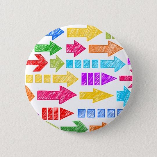 Colorful doodled arrows pinback button