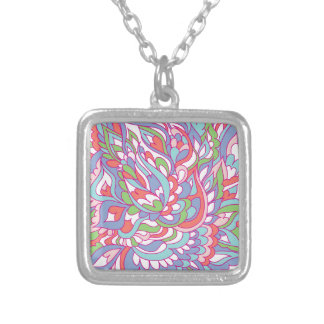 Colorful doodles pattern silver plated necklace