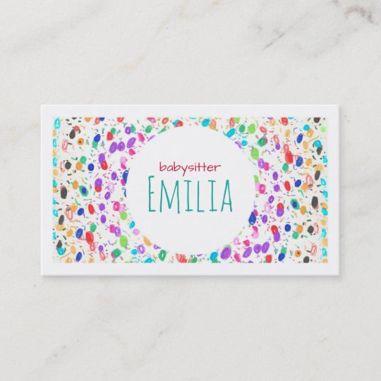 Colorful dot sketch babysitter business card zazzle colorful dot sketch babysitter business card colourmoves