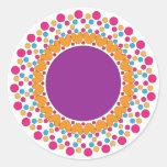 colorful dots and hearts ornament design round sticker