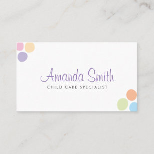 Colorful Dots Child Care Babysitting Business Card