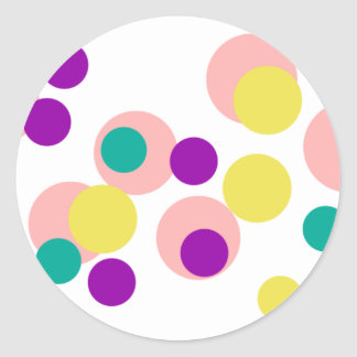 Colorful Dots Classic Round Sticker