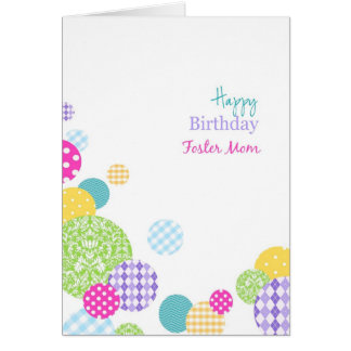 Colorful dots Happy Birthday Foster Mom Greeting Cards
