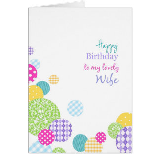 Colorful dots Happy Birthday to my lovely wife Greeting Cards