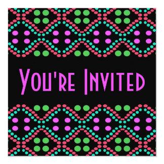 Colorful dots 5.25x5.25 square paper invitation card