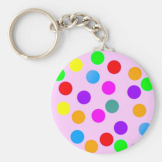 colorful_dots_on_pink keychain