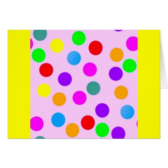 colorful_dots_on_pink tarjeta de felicitación