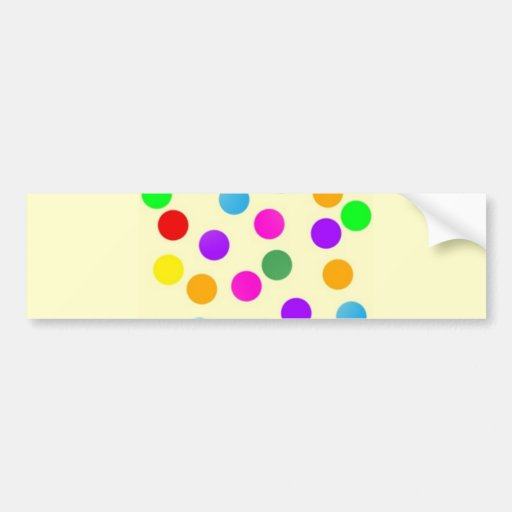 colorful_dots_on_yellow car bumper sticker