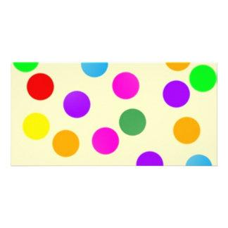 colorful_dots_on_yellow tarjetas con fotos personalizadas