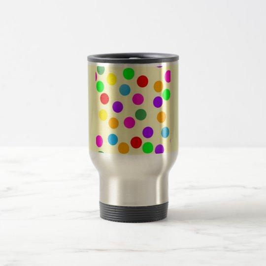 colorful_dots_on_yellow travel mug