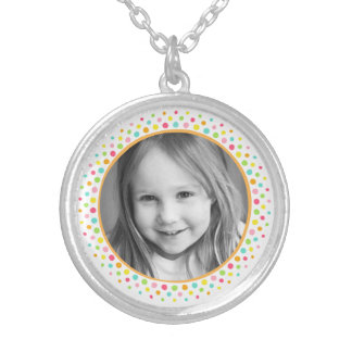 Colorful dots photo frame custom photograph silver plated necklace
