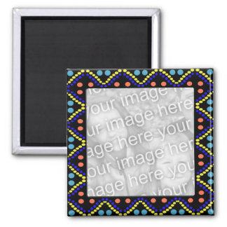 colorful dots photoframe 2 inch square magnet
