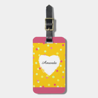 colorful dots & white heart shape name customized luggage tag