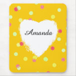 colorful dots & white heart shape name customized mouse pad
