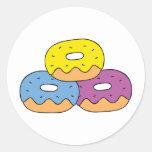 Colorful Doughnuts Round Sticker