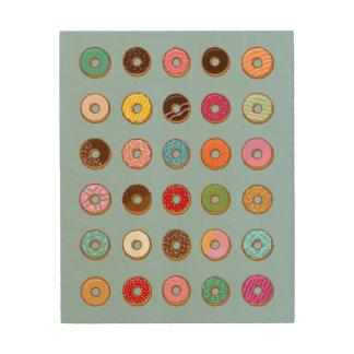 Colorful Doughnuts Wood Print