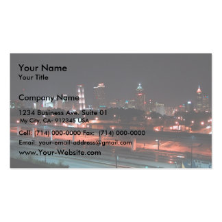 Colorful Downtown Of Atlanta Skyline At Night Double-Sided Standard Business Cards (Pack Of 100)