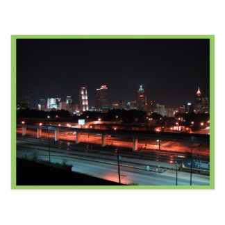 Colorful Downtown Of Atlanta Skyline At Night Postcards