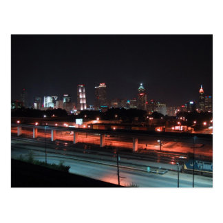 Colorful Downtown Of Atlanta Skyline At Night Post Card