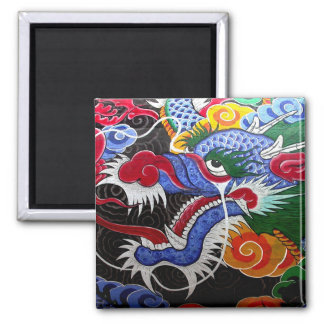 Colorful Dragon 2 Inch Square Magnet