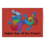 Colorful Dragon on red Chinese New Year Greeting C Cards