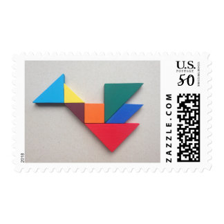 Colorful dragon Tangram Postage