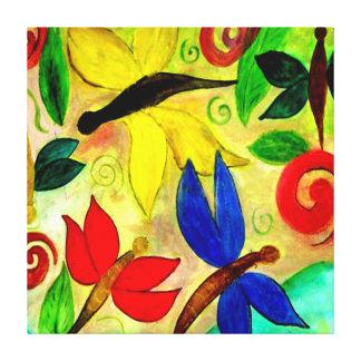 Colorful dragonflies art canvas stretched canvas prints