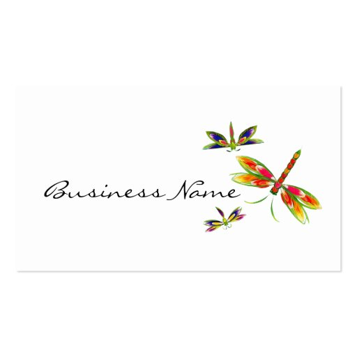colorful dragonflies business cards