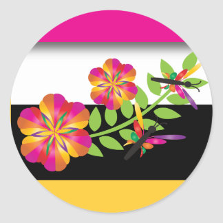 Colorful Dragonflies Classic Round Sticker