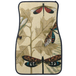 Colorful Dragonflies Floating Above Leaves Car Floor Mat