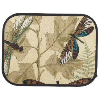 Colorful Dragonflies Floating Above Leaves Car Mat