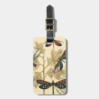 Colorful Dragonflies Floating Above Leaves Luggage Tag