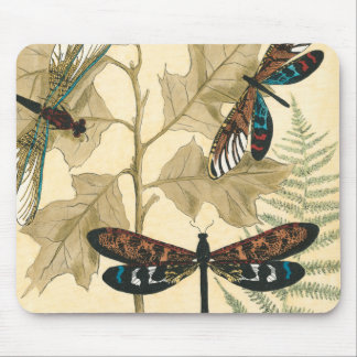 Colorful Dragonflies Floating Above Leaves Mouse Pad