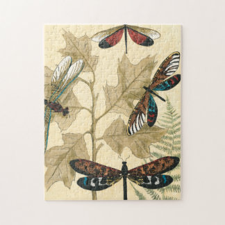 Colorful Dragonflies Floating Above Leaves Puzzle