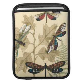 Colorful Dragonflies Floating Above Leaves Sleeve For iPads