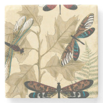 Colorful Dragonflies Floating Above Leaves Stone Coaster