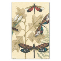 Colorful Dragonflies Floating Above Leaves Tissue Paper