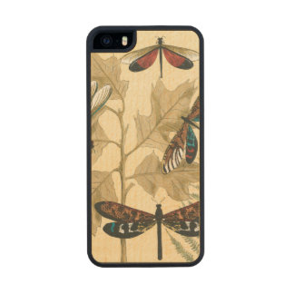 Colorful Dragonflies Floating Above Leaves Carved® Maple iPhone 5 Slim Case