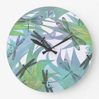 Colorful Dragonflies in Foliage Abstract Large Clock