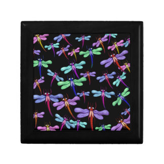 Colorful Dragonflies on Black Background Keepsake Box