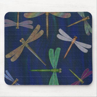 Colorful Dragonflies on Dark Marbled Blue Print Mouse Pad