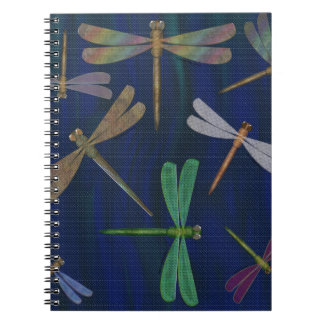Colorful Dragonflies on Dark Marbled Blue Print Notebook