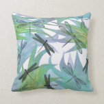 "Colorful Dragonfly Abstract Decorator Pillow<br><div class=""desc"">Elegant decorator accent throw pillow done in lovely lavender,  blue,  aqua,  green,  and white.  Beautiful abstract graphics of dragonflies in foliage decorate this chic pillow.  Customize to add text to personalize for yourself or as a lovely gift idea.</div>"